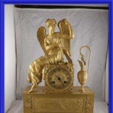 Relojes de carga manual: MAGNIFICO RELOJ DE BRONCE DORADO AL MERCURIO EPOCA IMPERIO S. XIX. Lote 154496150