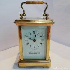 Relojes de carga manual: RELOJ VIAJE BRONCE DORADO LONDON CLOCK CO 1920 CARRIAGE CLOCK. Lote 154755242