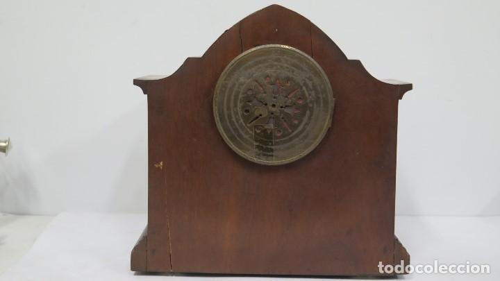 Relojes de carga manual: ANTIGUO RELOJ INGLES DE SOBREMESA DE MADERA CON MARQUETERIA - Foto 7 - 155922146