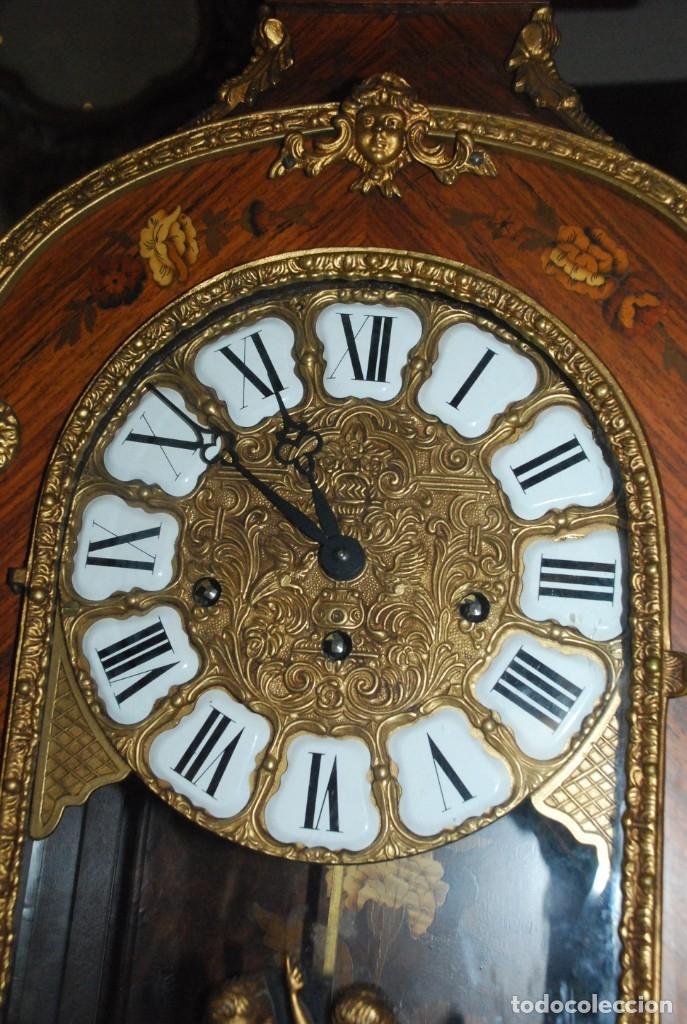 Relojes de carga manual: MUY BONITO RELOJ DE SOBREMESA DE CARGA MANUAL CON MARQUETERÍA Y BRONCE - Foto 17 - 156047210