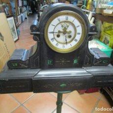 Relojes de carga manual: PESADO RELOJ SOBREMESA MARMOL NEGRO Y DETALLES JADE, LOGO MAQUINA ' PENIN ' FRANES? 50CM + INFO 1S. Lote 158436054