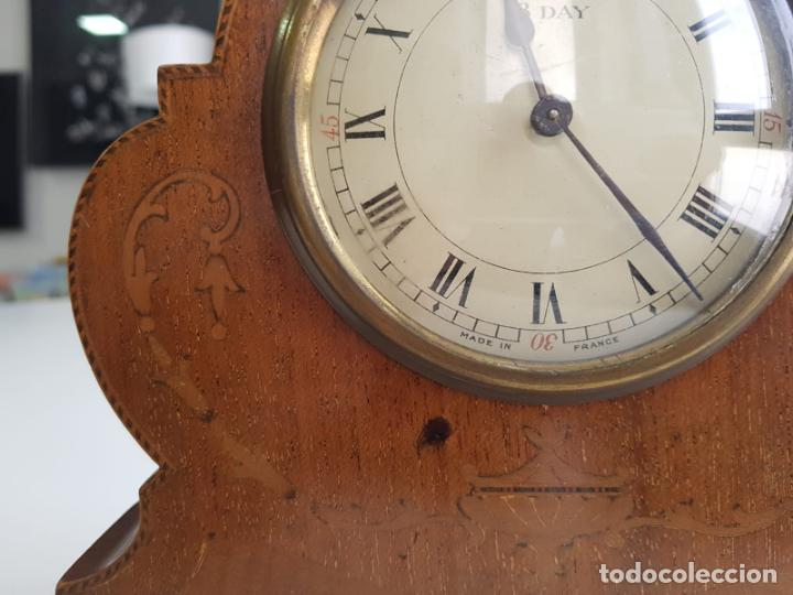 Relojes de carga manual: ANTIGUO RELOJ DE SOBREMESA FRANCÉS , SR FA 8 DAY , MARQUETERÍA - Foto 3 - 158540886