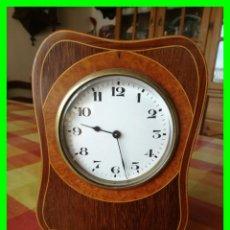 Relojes de carga manual: RELOJ FRANCÉS CON CAJA EN MADERA DE RAÍZ. FUNCIONA. 8 DÍAS. Lote 159973170