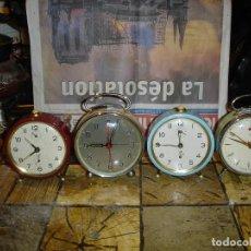 Relojes de carga manual: LOTE DE 4 RELOJES DESPERTADORES COMO NUEVOS TODOS FUNCIONAN VER FOTOS. Lote 162035326