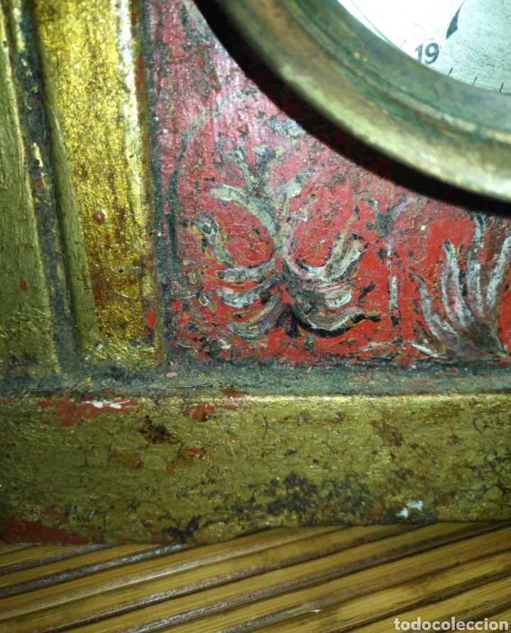 Relojes de carga manual: Antiguo reloj de mesa de madera policromada motivo flores. - Foto 6 - 166190542