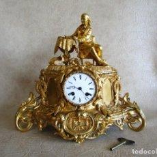 Relojes de carga manual: ANTIGUO RELOJ PARIS BRONCE AL MERCURIO ORO FINO SIGLO XIX E MARGUIN . Lote 166954244