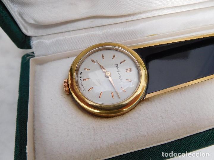 ABRECARTAS CON RELOJ INCORPORADO ANDRE WYLER AÑOS 50-60 (Relojes - Sobremesa Carga Manual)