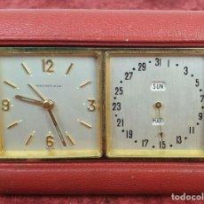Relojes de carga manual: TIFFANY 8 DAYS. RELOJ DESPERTADOR DE VIAJE. CALENDARIO. 15 JEWELS. SUIZA. 1960. . Lote 167950484