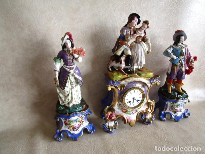 Relojes de carga manual: Antiguo reloj sobremesa Paris porcelana Le Grand Aine pendulo hilo siglo XIX - Foto 2 - 168112872