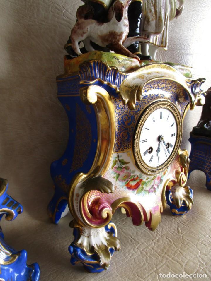 Relojes de carga manual: Antiguo reloj sobremesa Paris porcelana Le Grand Aine pendulo hilo siglo XIX - Foto 16 - 168112872