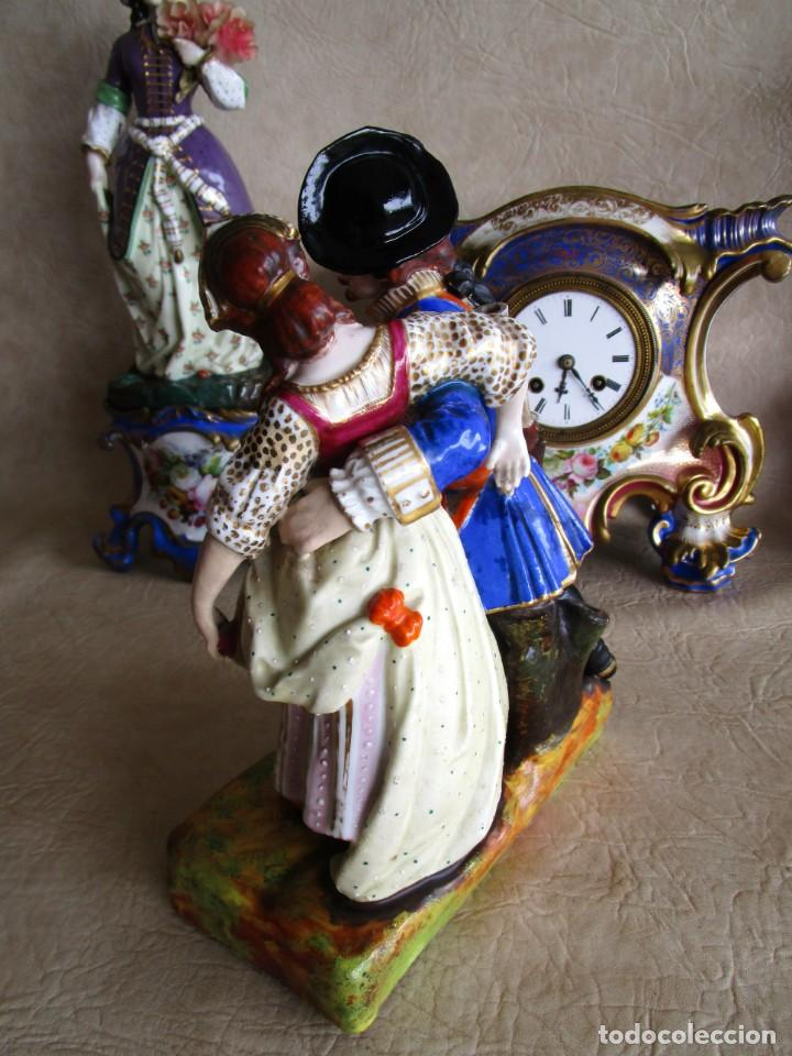 Relojes de carga manual: Antiguo reloj sobremesa Paris porcelana Le Grand Aine pendulo hilo siglo XIX - Foto 23 - 168112872