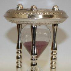 Relojes de carga manual: RELOJ DE ARENA EN ALPACA Y VIDRIO SOPLADO. MEDIADOS SIGLO XX. Lote 170078056