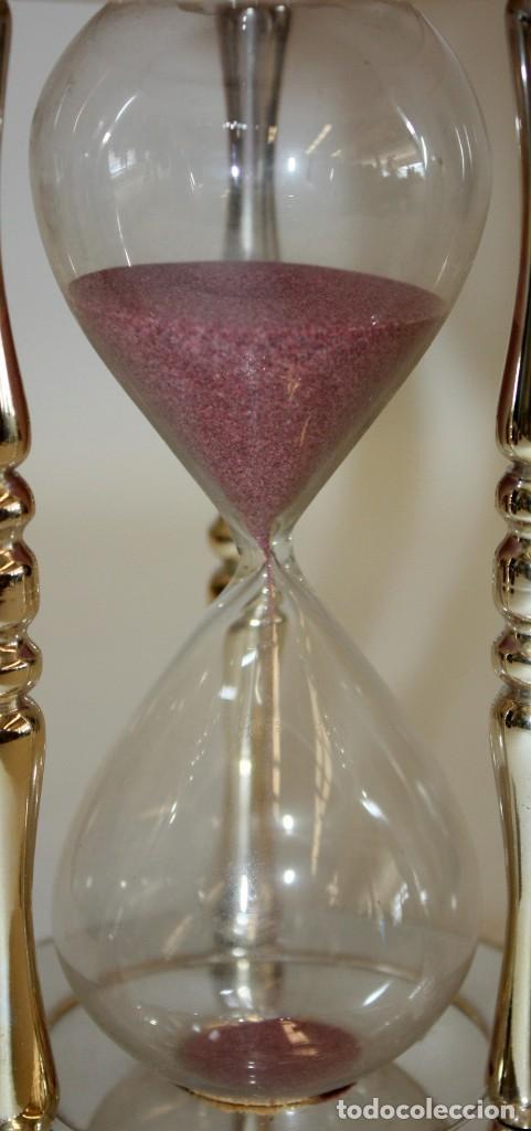 Relojes de carga manual: RELOJ DE ARENA EN ALPACA Y VIDRIO SOPLADO. MEDIADOS SIGLO XX - Foto 3 - 170078056