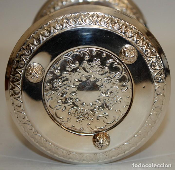 Relojes de carga manual: RELOJ DE ARENA EN ALPACA Y VIDRIO SOPLADO. MEDIADOS SIGLO XX - Foto 5 - 170078056