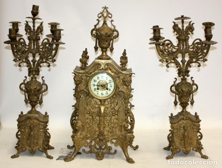 ANTIGUO RELOJ DE SOBREMESA EN BRONCE DE LA 2ª MITAD DEL SIGLO XIX (Relojes - Sobremesa Carga Manual)