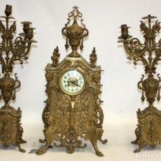 Relojes de carga manual: ANTIGUO RELOJ DE SOBREMESA EN BRONCE DE LA 2ª MITAD DEL SIGLO XIX. Lote 171014808
