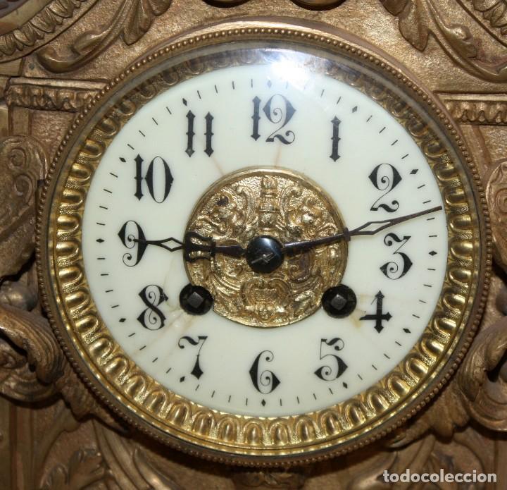Relojes de carga manual: ANTIGUO RELOJ DE SOBREMESA EN BRONCE DE LA 2ª MITAD DEL SIGLO XIX - Foto 18 - 171014808