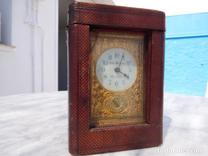 Relojes de carga manual: Reloj despertador antiguo de José Barrera en Barcelona 1880 aprox. - Foto 56 - 171977063