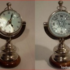 Relojes de carga manual: RELOJ DE SOBREMESA , POR LAS DOS CARA , DIAL ROMANO Y ROSA DE VIENTOS MADERA ,META Y CRISTAL GRANDE. Lote 210200478