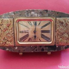 Relojes de carga manual: RELOJ DESPERTADOR ART DECO, MARMOL Y BRONCE, FUNCIONA. Lote 173412968