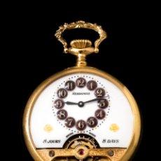 Relojes de carga manual: RELOJ DE BOLSILLO HEBDOMAS DE ORIGEN SUIZO ,DE 8 DÍAS DE CUERDA BAÑADO EN ORO DE 18 K Y FUNCIONANDO. Lote 175115479