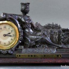 Relojes de carga manual: RELOJ EN CALAMINA CONMEMORATIVO DE LA EXPOSICIÓN UNIVERSAL DE BARCELONA EN 1929 FUNCIONANDO. Lote 175762480