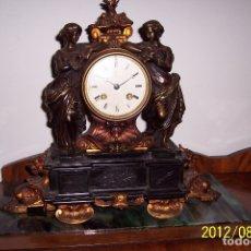 Relojes de carga manual: RELOJ SOBREMESA SIGLO XIX EN BRONCE MACIZO Y MARMOL NEGRO. Lote 175822603