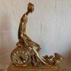 Relojes de carga manual: ANTIGUO RELOJ DE BRONCE Y BASE DE MARMOL. Lote 176814883