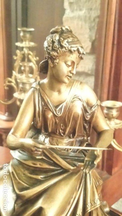 Relojes de carga manual: Reloj de mármol con figura de bronce antiguo - Foto 3 - 177331239
