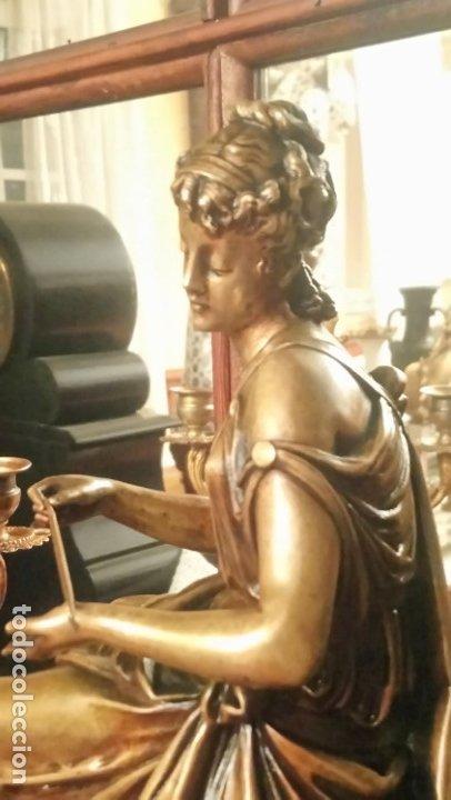 Relojes de carga manual: Reloj de mármol con figura de bronce antiguo - Foto 13 - 177331239