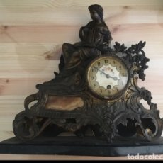 Relojes de carga manual: ANTIGUO RELOJ BRONCE SOBREMESA CUERDA. Lote 177738885