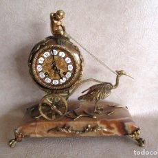 Relojes de carga manual: ANTIGUO RELOJ SOBREMESA A CUERDA SIN PENDULO CON VOLANTE GIRATORIO DOBLE TONO. Lote 177741027