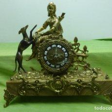 Relojes de carga manual: ANTIGUO Y FABULOSO RELOJ IMPERIO DE SOBREMESA CARGA MANUAL EN BRONCE Y PEANA DE MARMOL. Lote 179149735