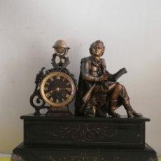 Relojes de carga manual: MASIVO RELOJ FRANCÉS GLOBO TERRÁQUEO BRONCE Y MÁRMOL NEGRO MUY DETALLADO SIGLO XIX. Lote 179334090