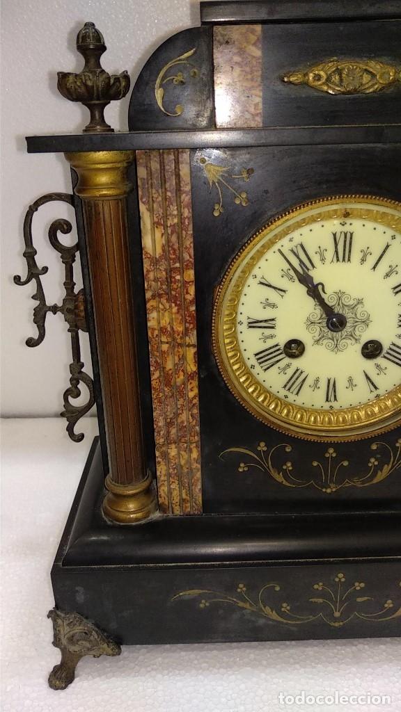 Relojes de carga manual: Reloj S.XIX francés- maquinaria París- mármol de dos colores - Foto 3 - 180855335