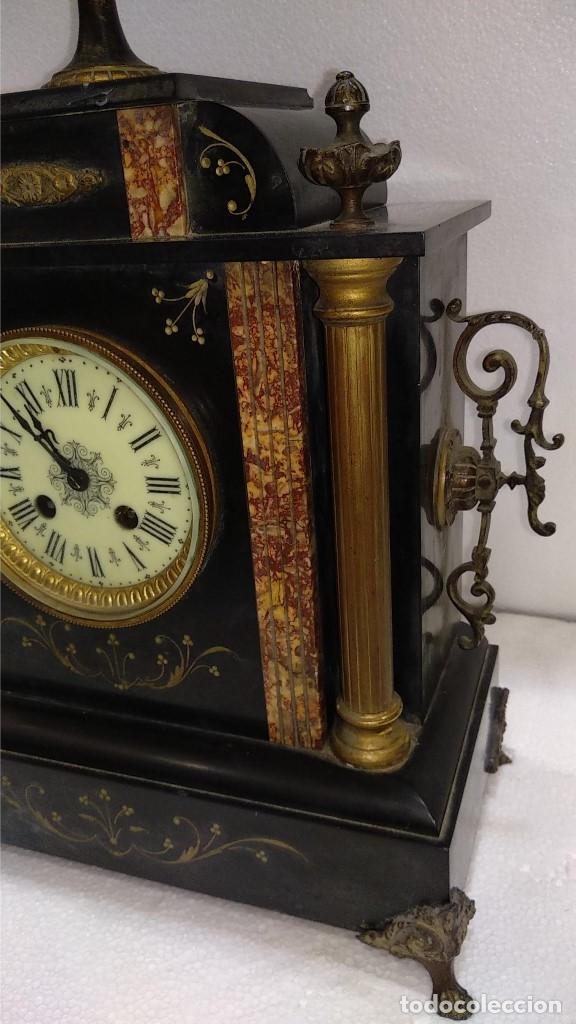 Relojes de carga manual: Reloj S.XIX francés- maquinaria París- mármol de dos colores - Foto 4 - 180855335