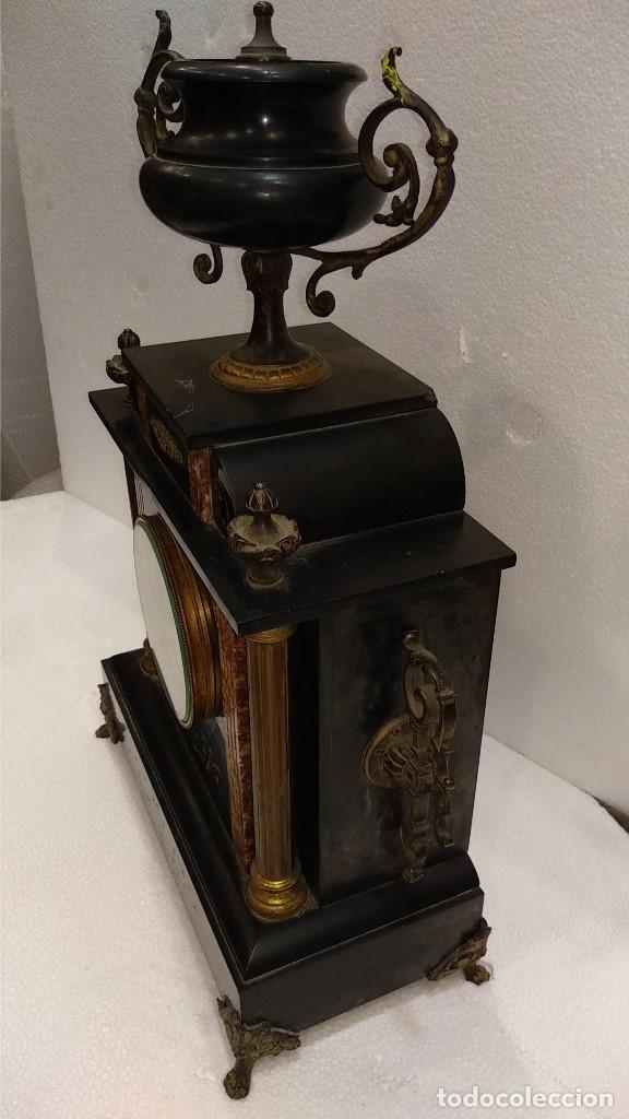 Relojes de carga manual: Reloj S.XIX francés- maquinaria París- mármol de dos colores - Foto 6 - 180855335