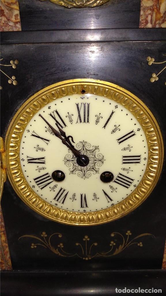 Relojes de carga manual: Reloj S.XIX francés- maquinaria París- mármol de dos colores - Foto 9 - 180855335