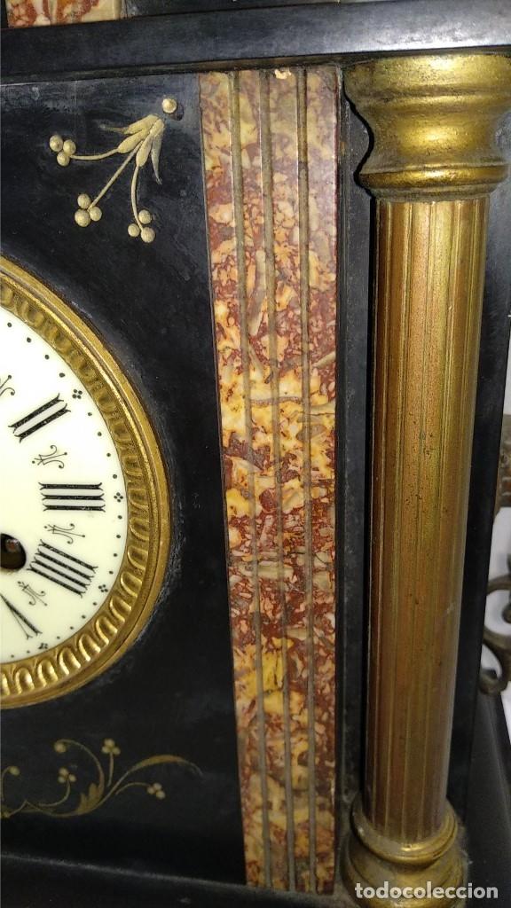 Relojes de carga manual: Reloj S.XIX francés- maquinaria París- mármol de dos colores - Foto 10 - 180855335