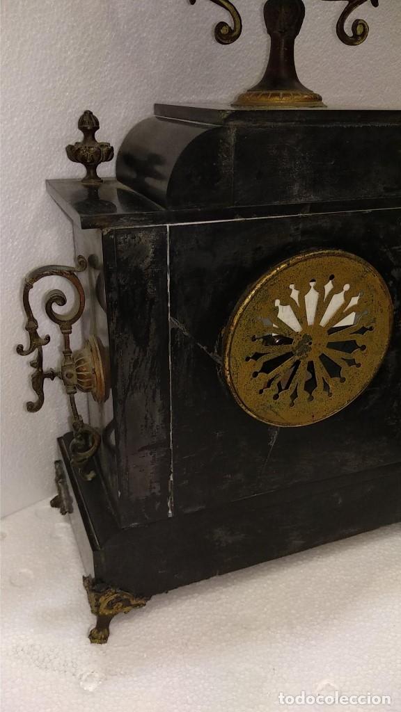 Relojes de carga manual: Reloj S.XIX francés- maquinaria París- mármol de dos colores - Foto 15 - 180855335
