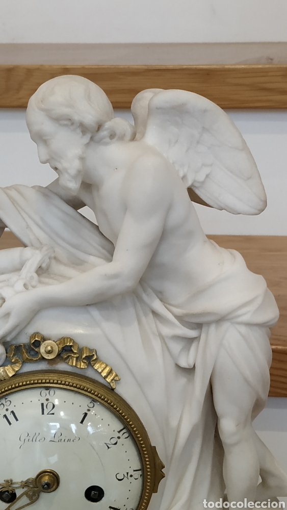 Relojes de carga manual: Reloj francés siglo xviii. Reloj antiguo Gille Lainé. Reloj mármol antiguo. - Foto 4 - 181109073