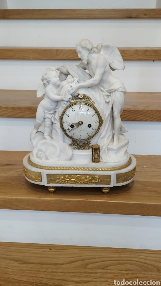 RELOJ FRANCÉS SIGLO XVIII. RELOJ ANTIGUO GILLE LAINÉ. RELOJ MÁRMOL ANTIGUO. (Relojes - Sobremesa Carga Manual)