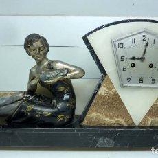 Relojes de carga manual: RELOJ MARMOL, METAL ART DECO. Lote 181401882