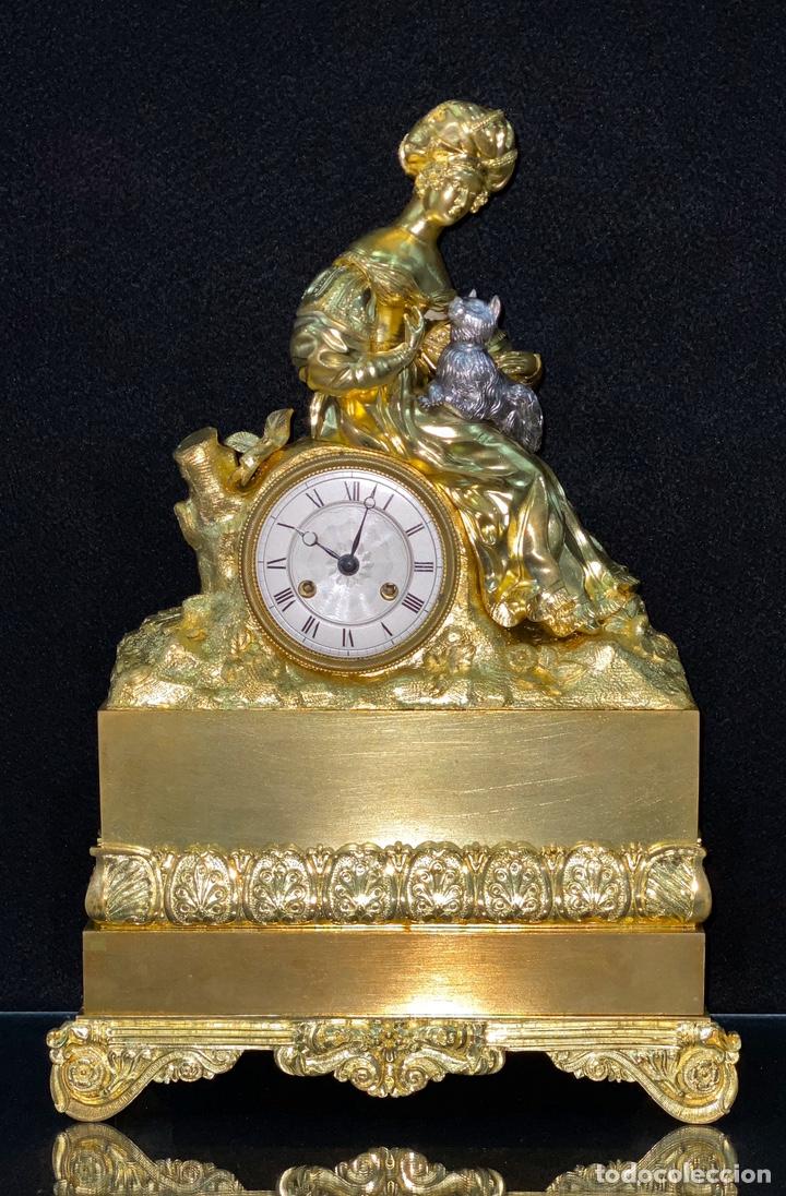 Relojes de carga manual: Reloj Imperio bronce dorado. Siglo XIX - Foto 12 - 181951450