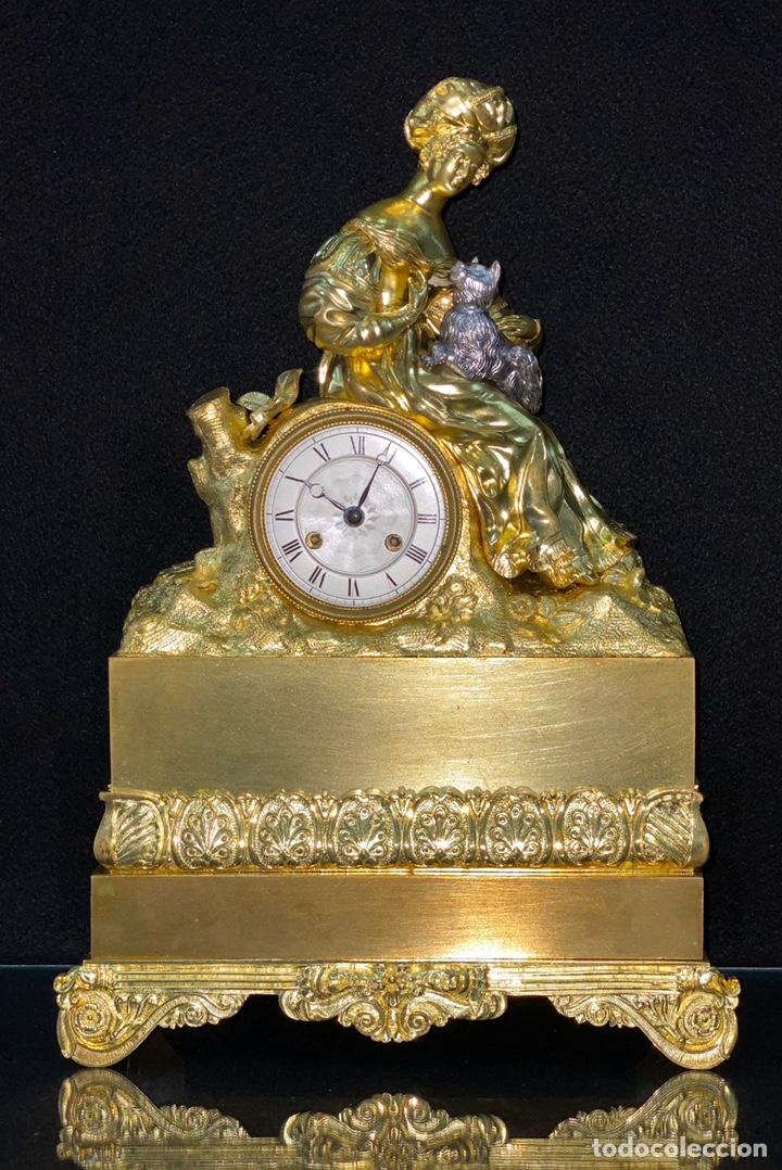 Relojes de carga manual: Reloj Imperio bronce dorado. Siglo XIX - Foto 14 - 181951450