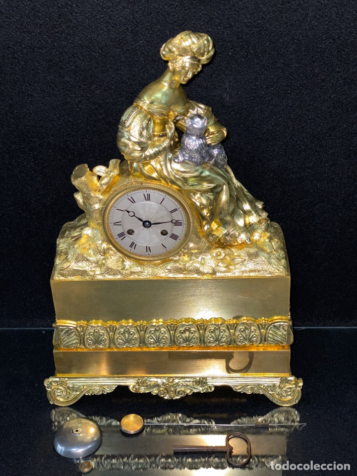 Relojes de carga manual: Reloj Imperio bronce dorado. Siglo XIX - Foto 15 - 181951450