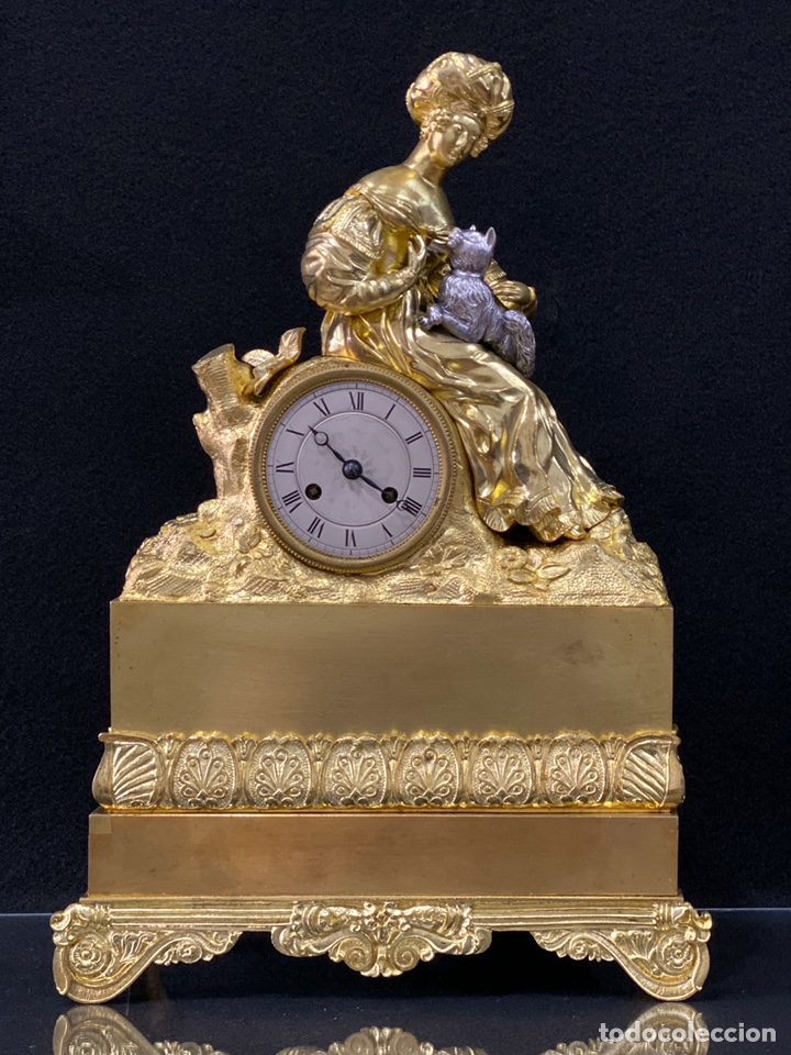 Relojes de carga manual: Reloj Imperio bronce dorado. Siglo XIX - Foto 17 - 181951450