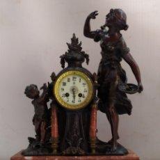 Relojes de carga manual: IMPRESIONANTE RELOJ FRANCÉS SIGLO XIX MUY DETALLADO ZAMAK PAVONADO Y MÁRMOL. Lote 183572050