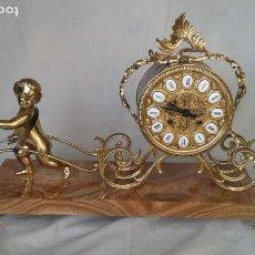 Relojes de carga manual: RELOJ DE BRONCE ANTIGUO MARCA SOHER ESTILO BARROCO CON PIE DE MÁRMOL. Lote 183745710