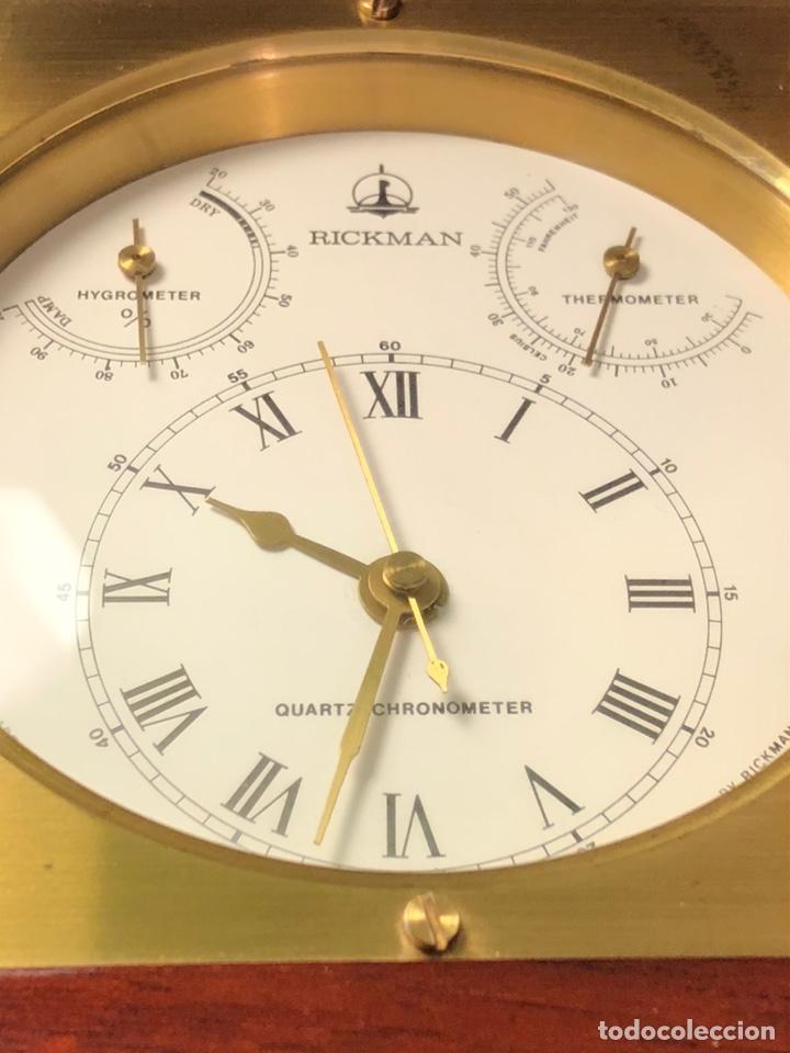 Relojes de carga manual: RICKMAN RELOJ TERMÓMETRO HIGRÓMETRO. MADE IN SPAIN. BIEN CONSERVADO. PRECIOSA CAJA MADERA Y LATÓN - Foto 3 - 184807103